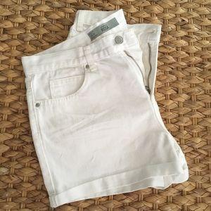 Topshop White Denim Rolled Hem Shorts
